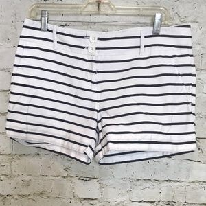 The LIMITED women's shorts white with navy stripes